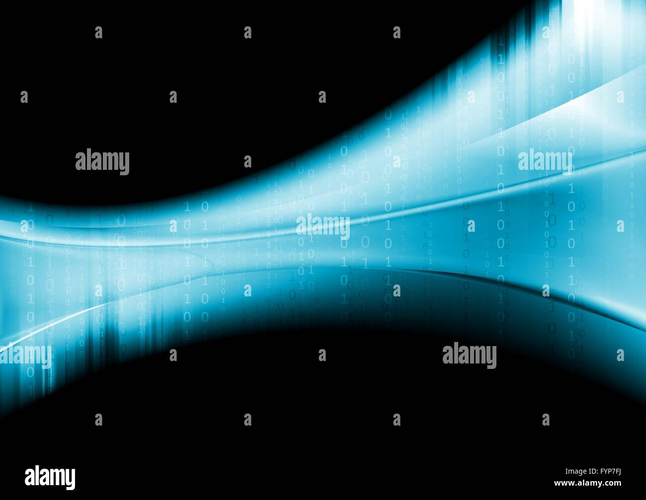 Blue tech wavy background with binary system code - Stock Image
