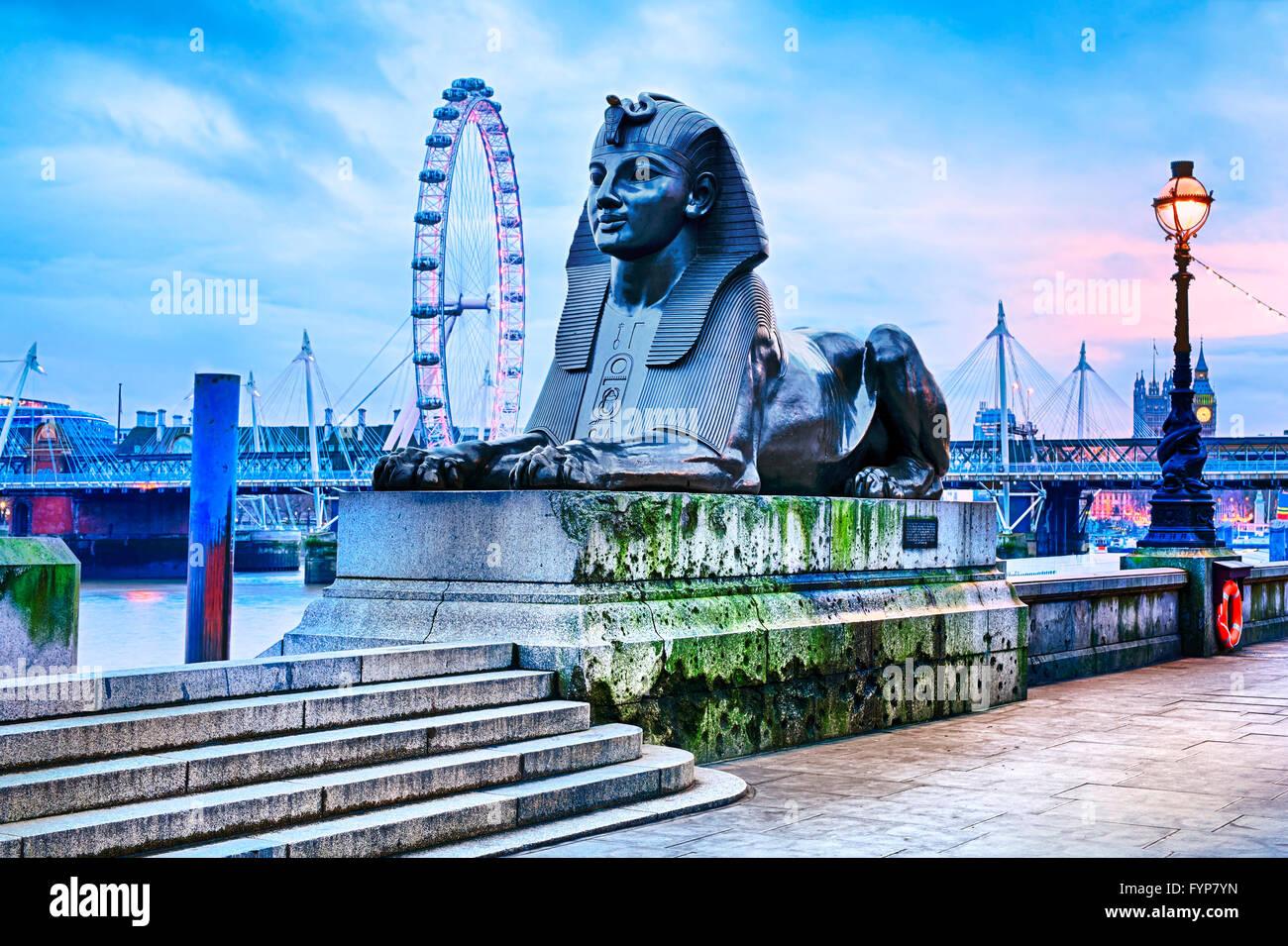 sphinx embankment london on river thames - Stock Image