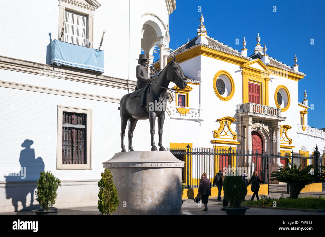 Spain, Andalusia, Seville, the statue of the Countess of Barcelona in front of  the Plaza de Toros (Bullring) and - Stock Image