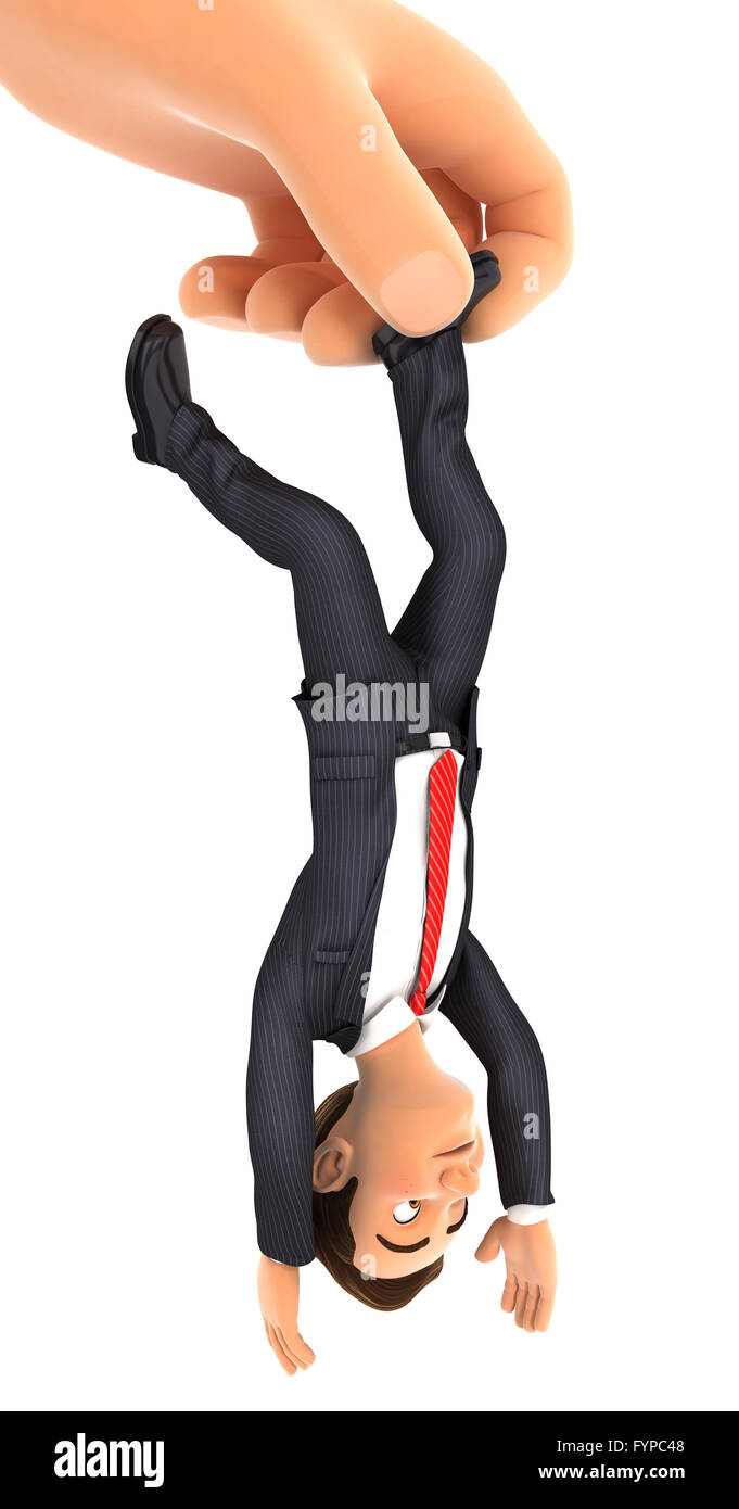 3d big hand catching businessman by foot, isolated white background Stock Photo