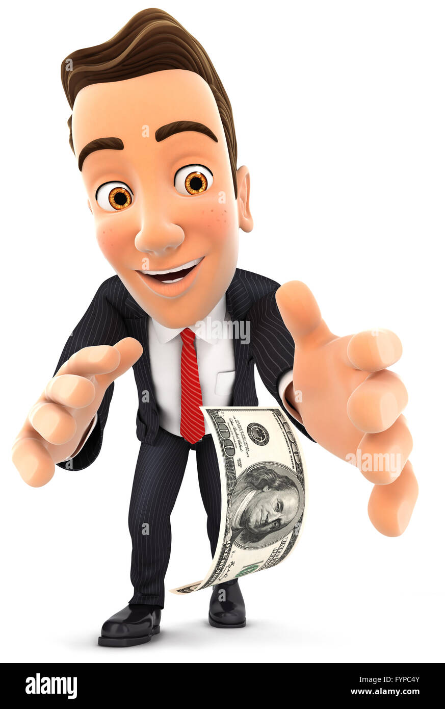3d businessman bending down to pick up dollar bill, isolated white background Stock Photo