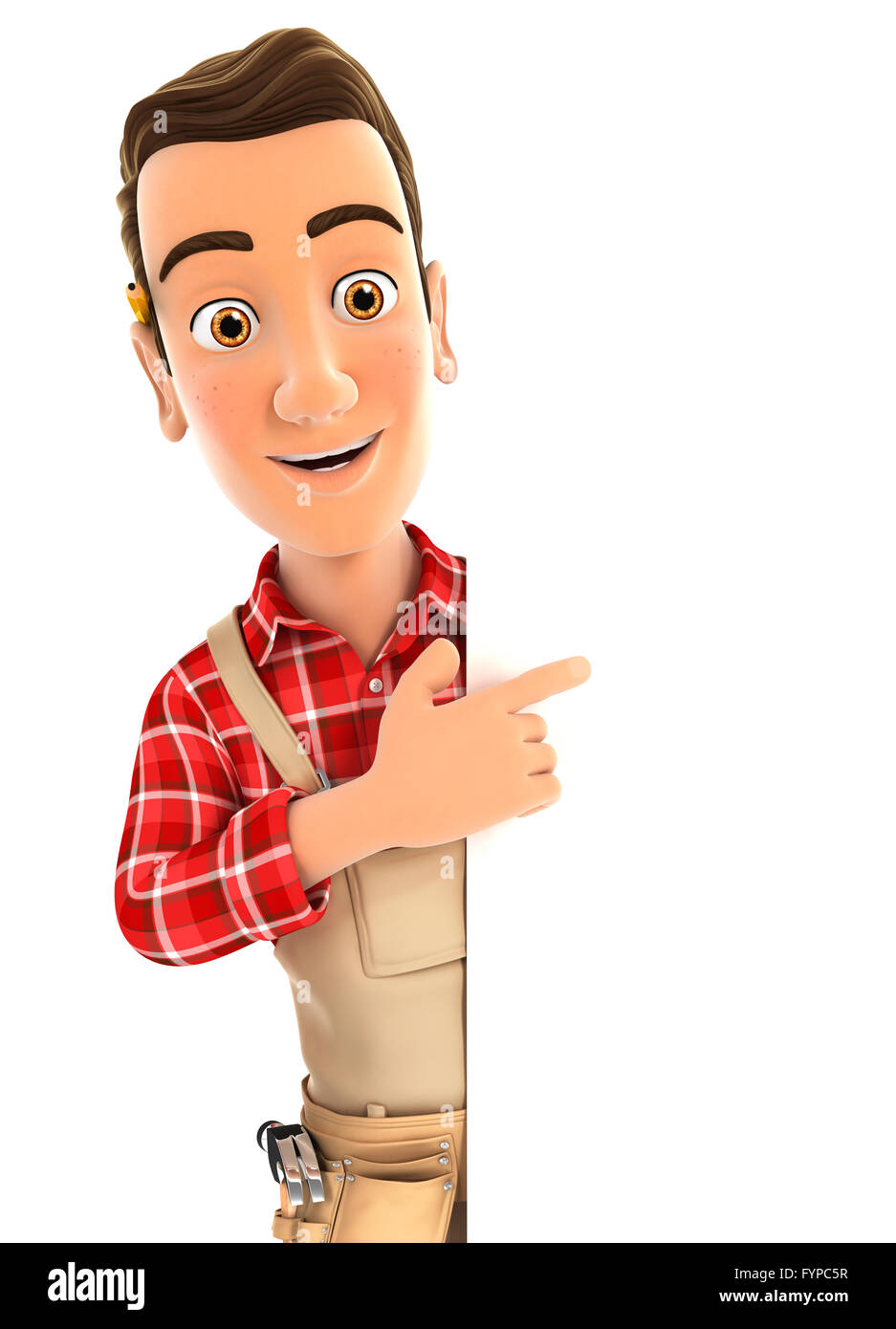3d handyman pointing to right blank wall, illustration with isolated white background Stock Photo