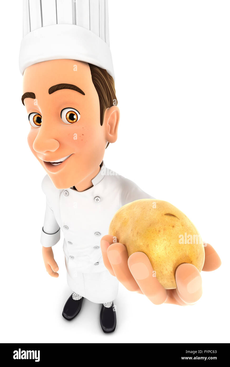 3d head chef holding a potato, isolated white background Stock Photo