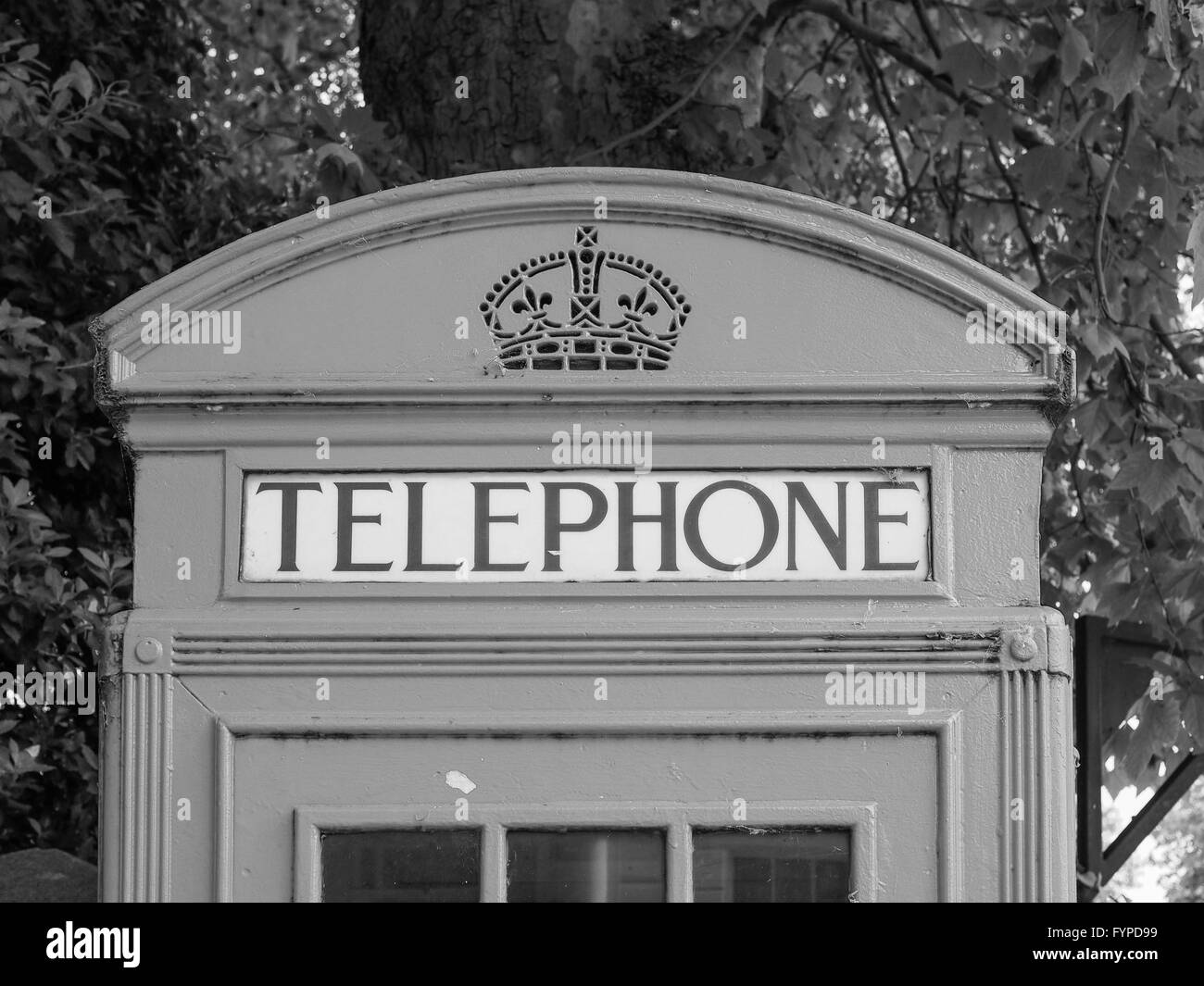 Black and white Red phone box in London - Stock Image
