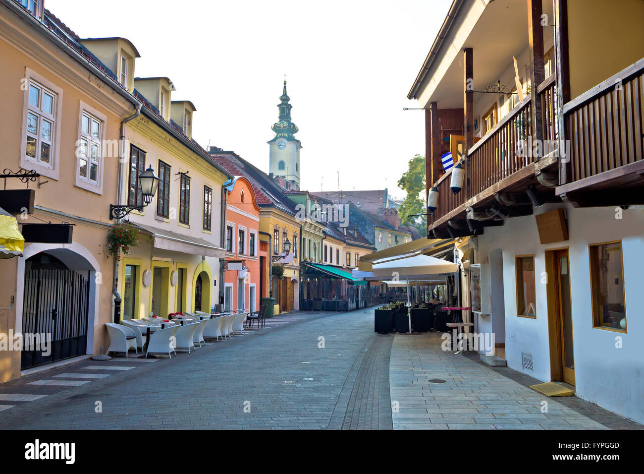 Old hitoric Zagreb street view - Stock Image