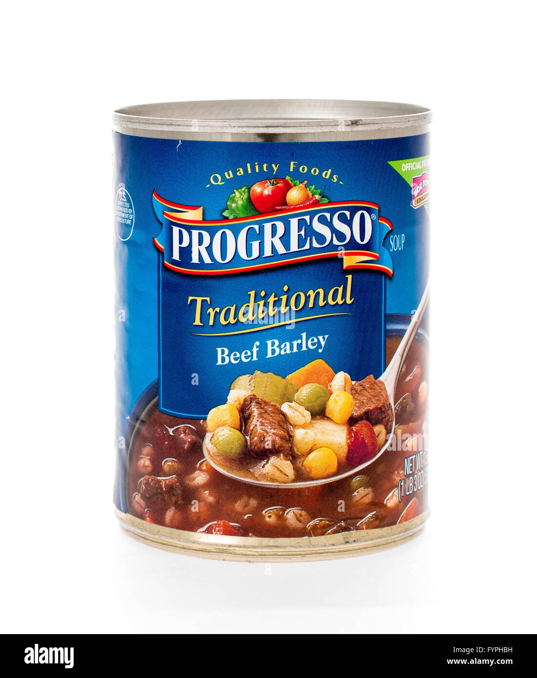 Winneconne, WI - 7 February 2015:  Can of Progresso Traditional Beef Barley soup. - Stock Image