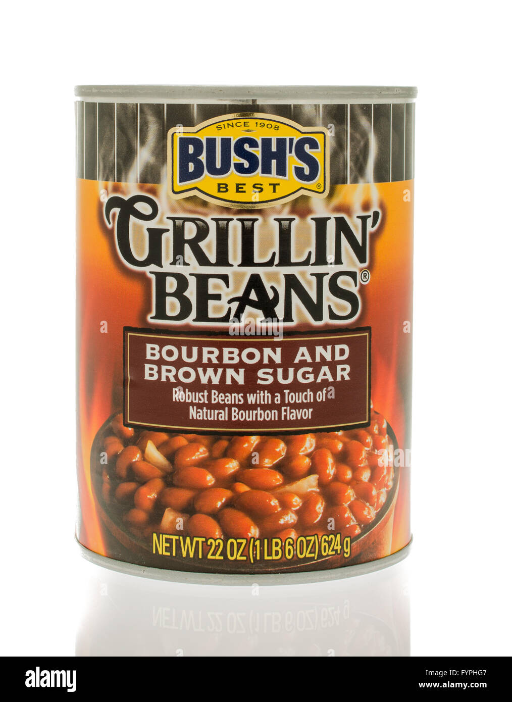 Winneconne, WI - 18 Nov 2015:  A can of Bush's grillin' beans in bourbon and brown sugar flavor. - Stock Image