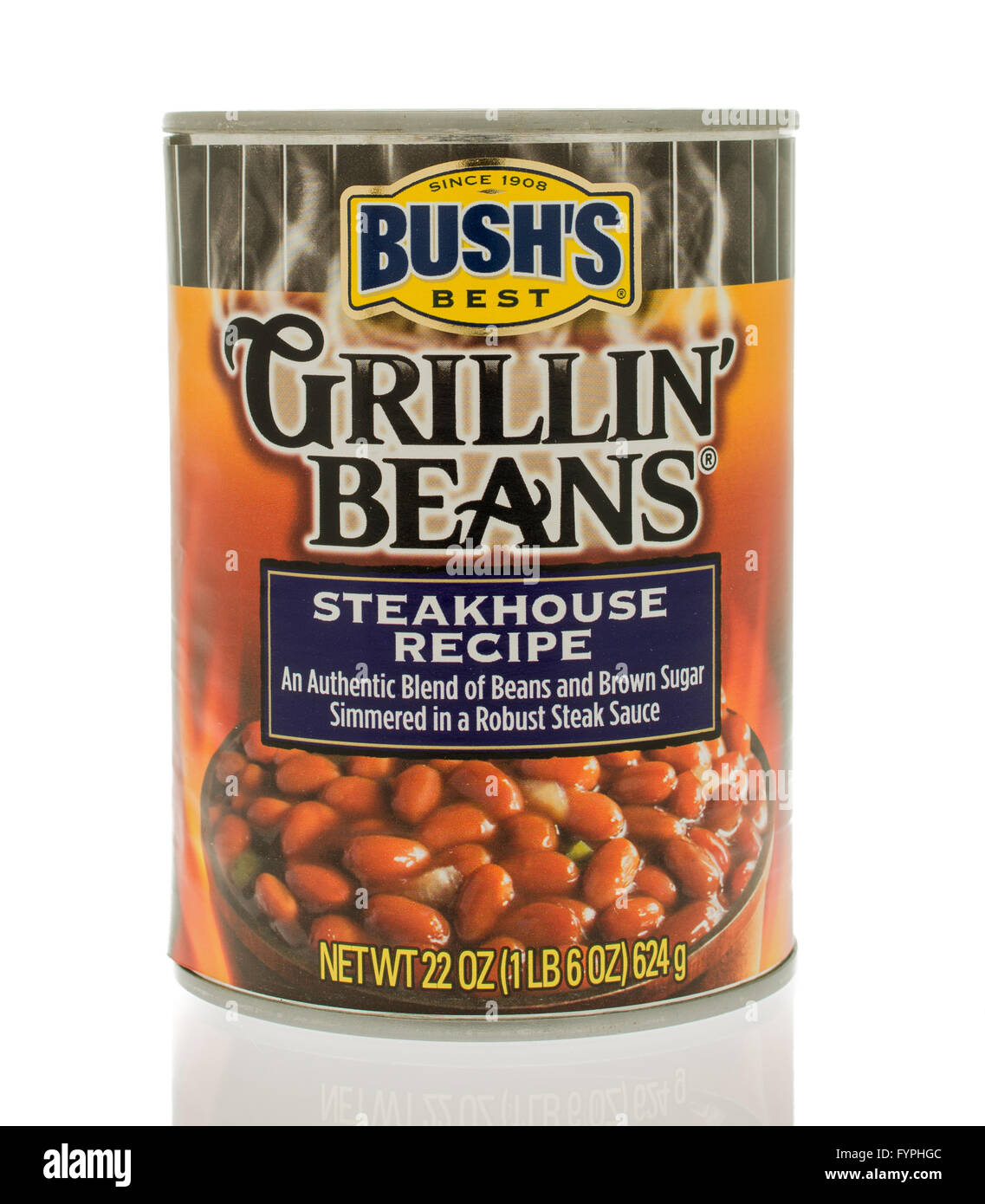 Winneconne, WI - 18 Nov 2015:  A can of Bush's grillin' beans in steakhouse recipe flavor. - Stock Image