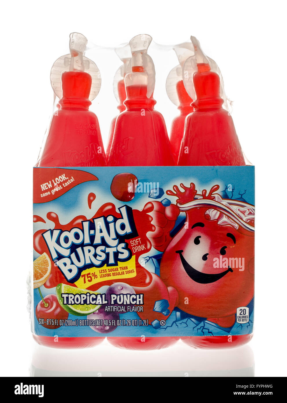 Winneconne, WI - 19 Feb 2016: Bottles of Kool-Aid bursts in tropical punch flavor. - Stock Image