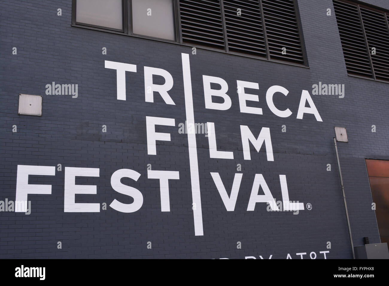 Sign for the Tribeca Film Festival in Lower Manhattan. - Stock Image