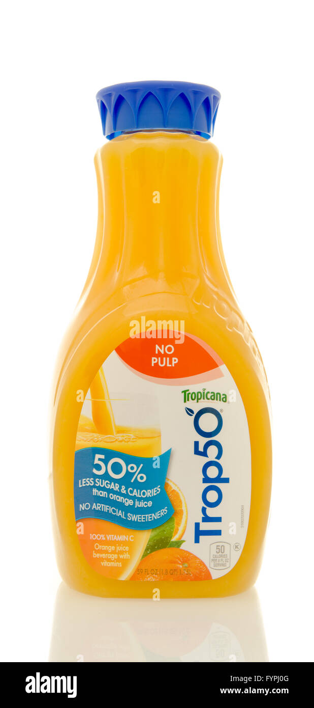 Winneconne, WI - 20 April 2016: Bottle of Trop 50 orange juice from Tropican with 50% less sugar on an isolated background