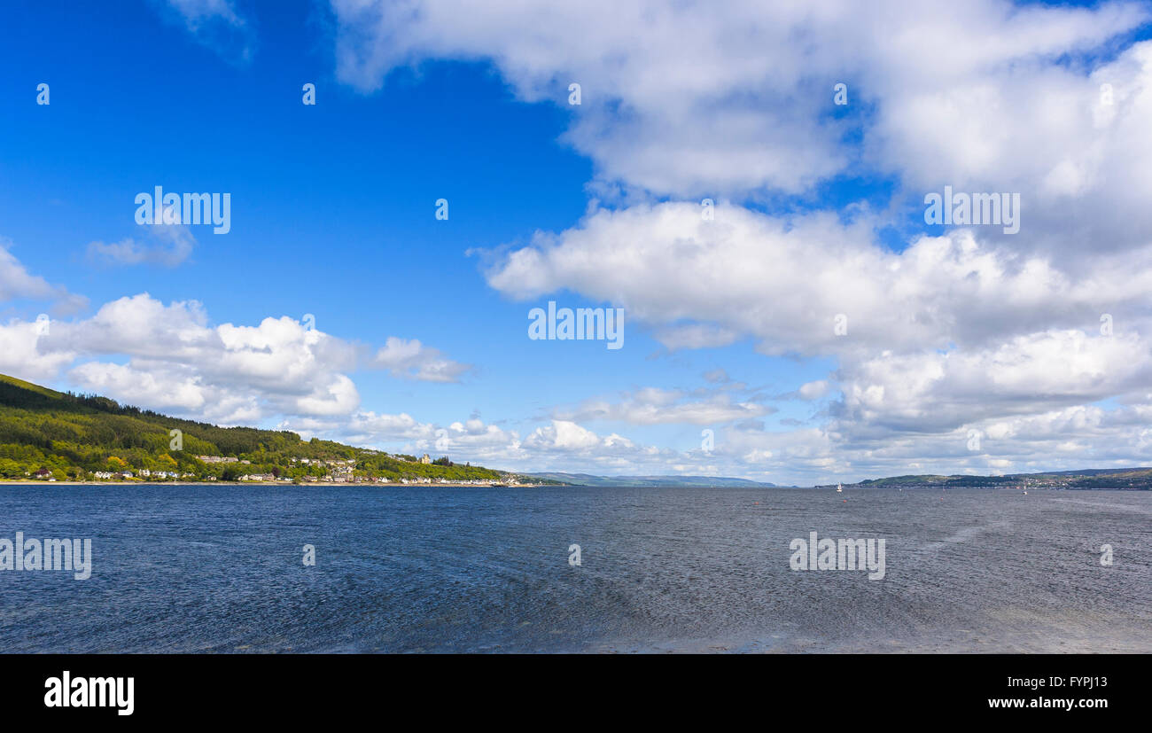 View of Holy Loch, Dunoon, Argyll & Bute, Scotland, UK. During World War II, the loch was used as a submarine - Stock Image