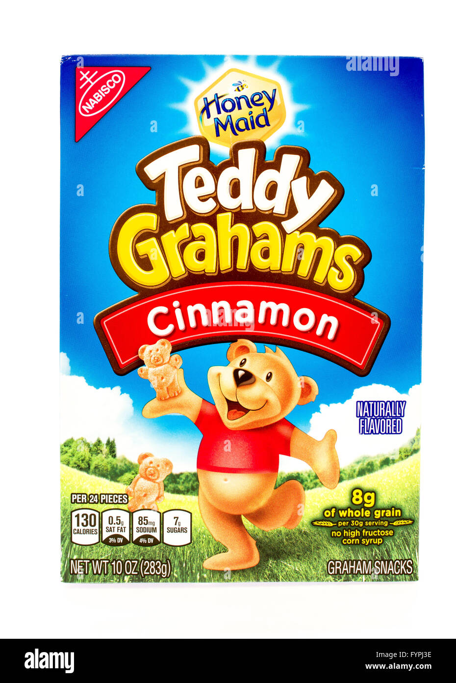 Winneconne, WI - 29 August 2015: Box of Teddy Grahams in cinnamon flavor Stock Photo