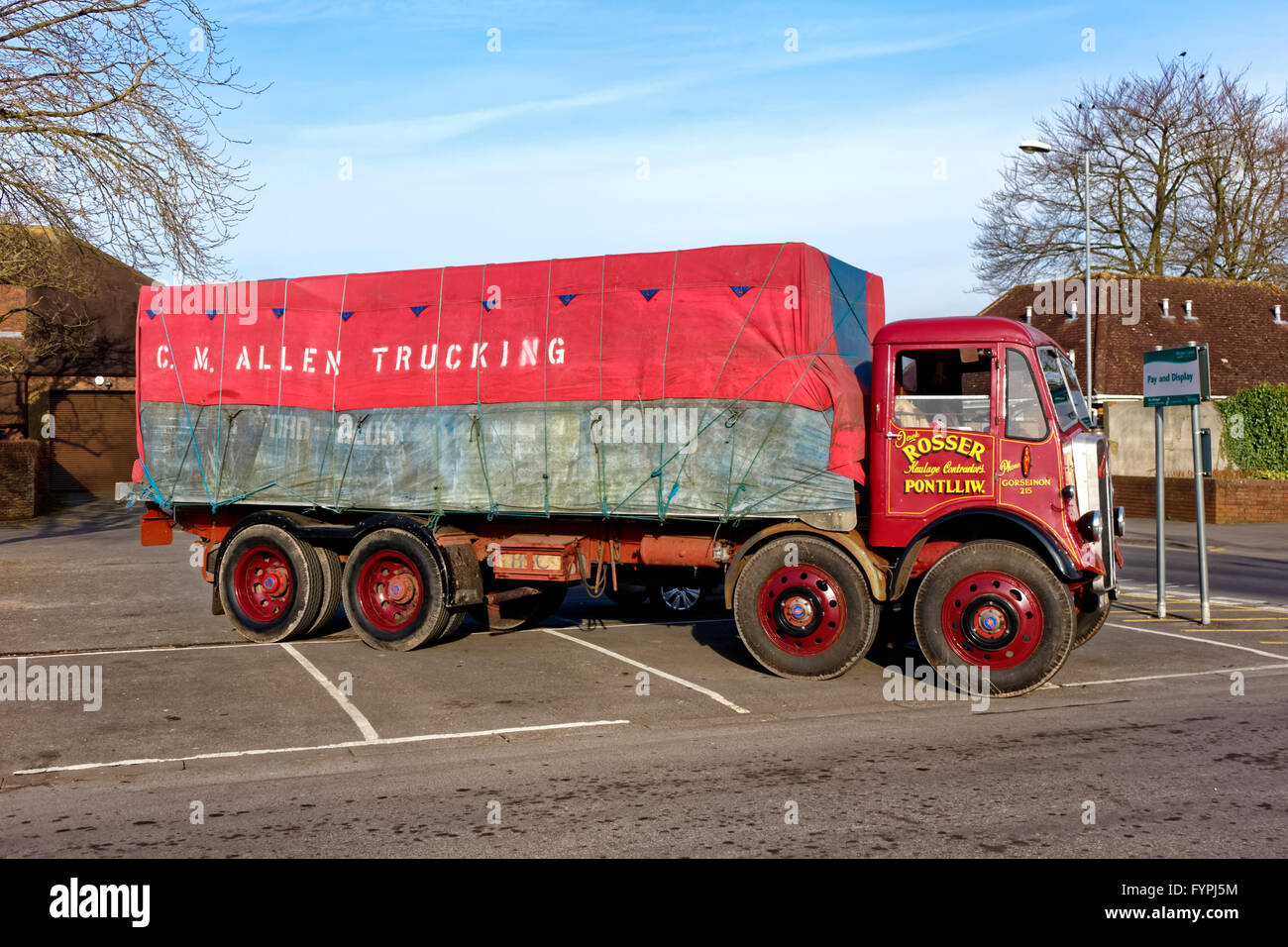 1949 AEC Mammoth Major, registration number, JNY 484, at the Warminster Central Car Park, Wiltshire, United Kingdom. - Stock Image