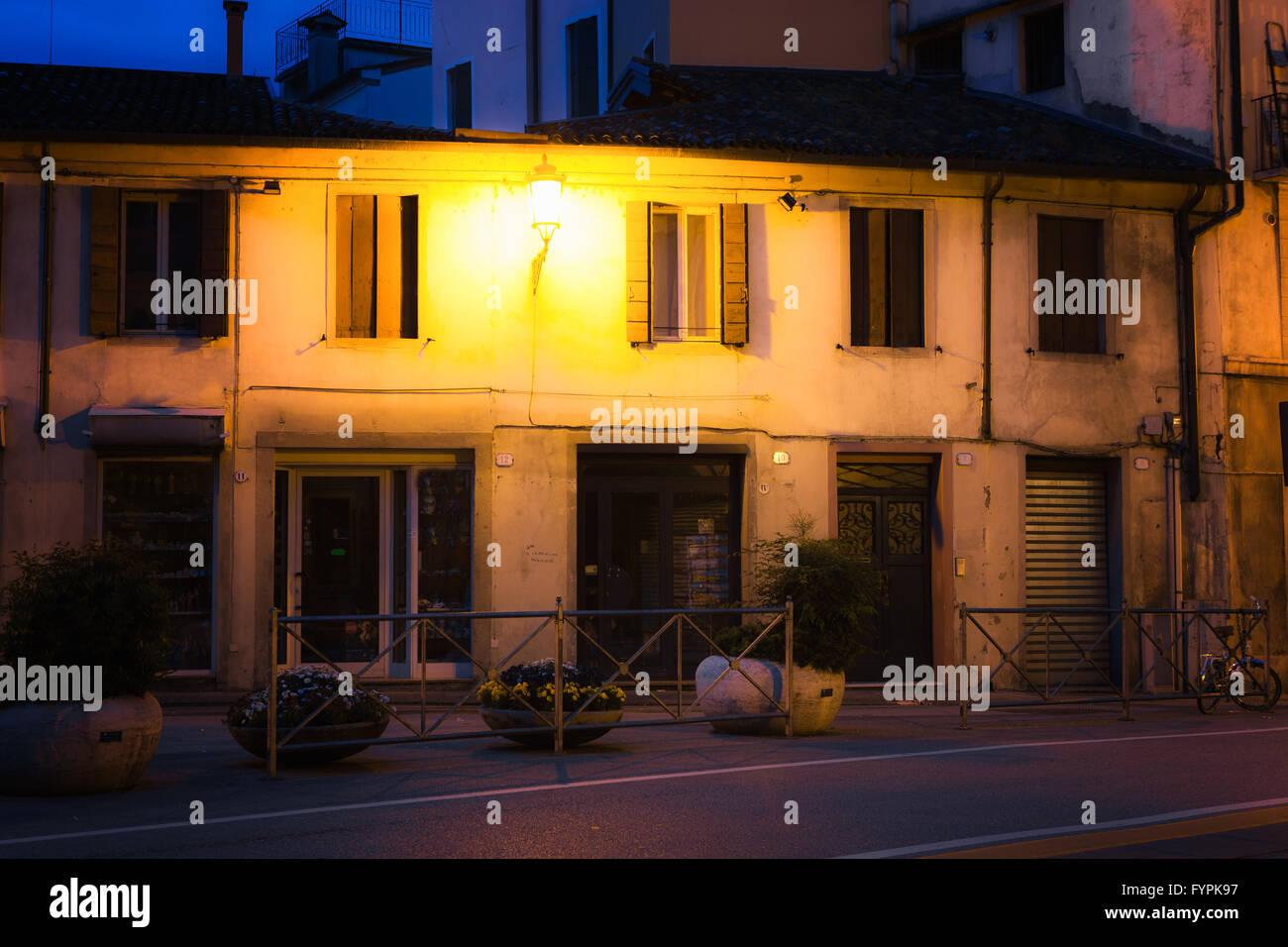 Old European sreet at night - Stock Image