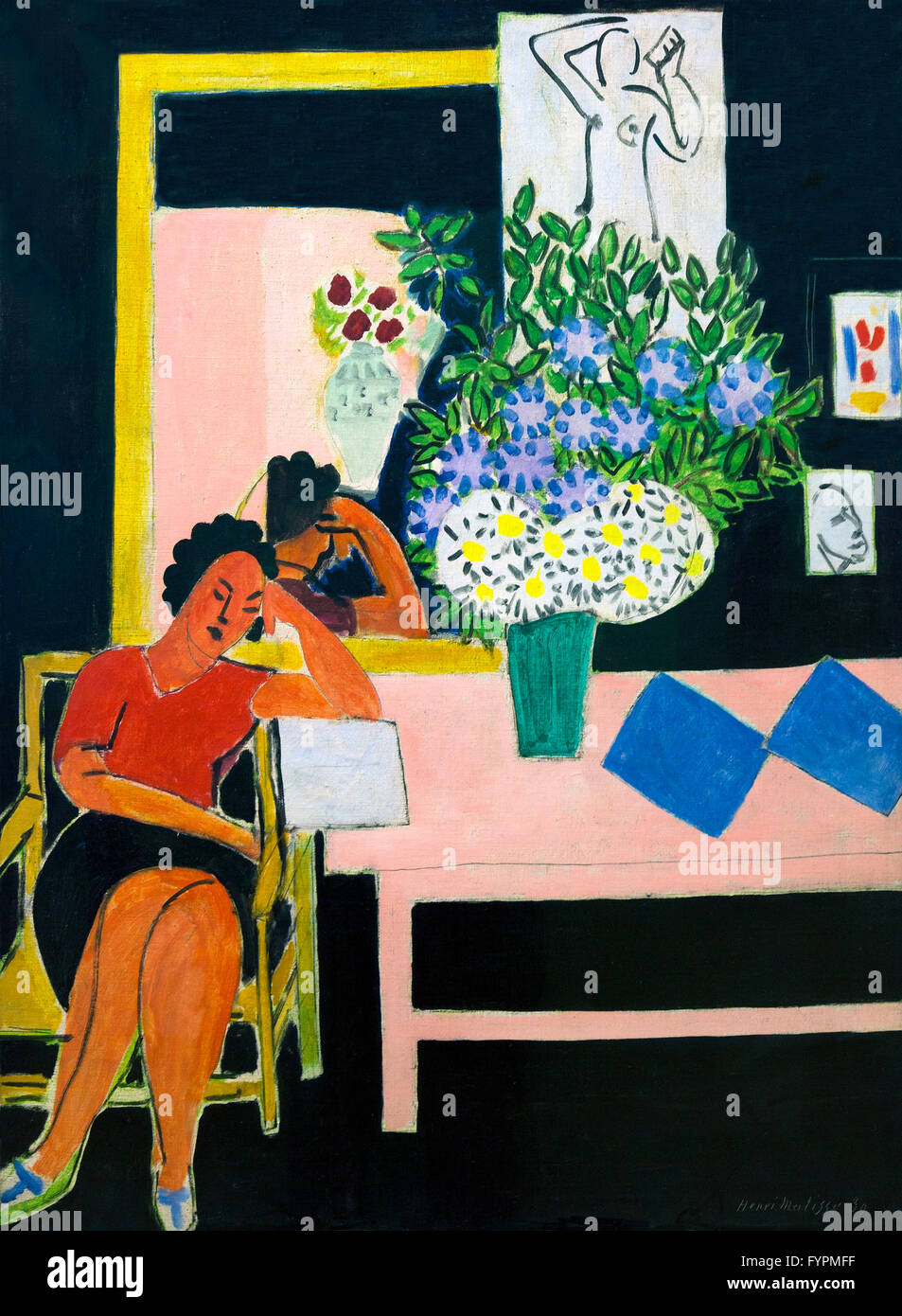 Woman Reading, Black Background, Liseuse sur Fond Noir, by Henri Matisse, 1939, Centre Pompidou, Paris, France, - Stock Image