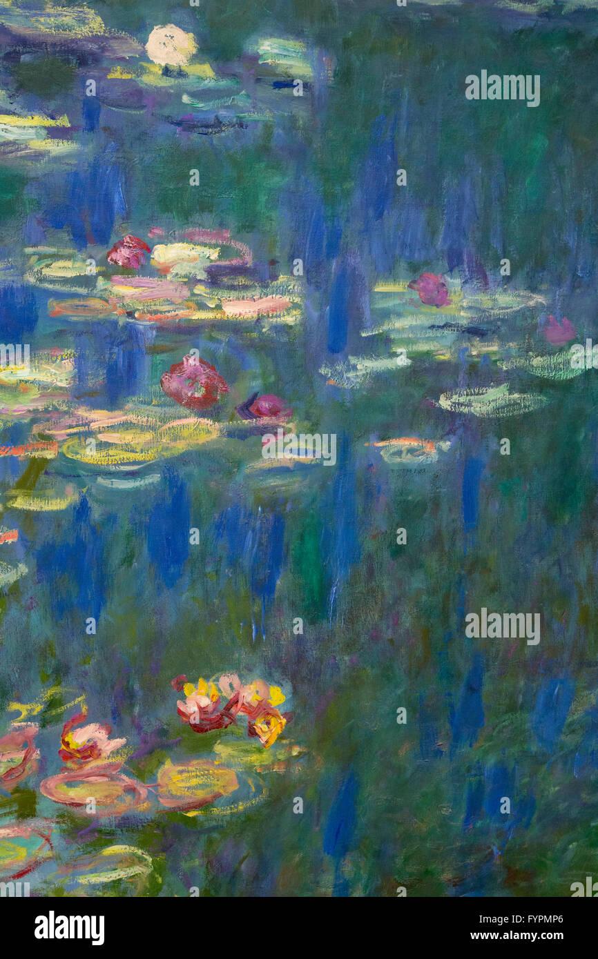Nympheas, Water Lilies, by Claude Monet, 1918-1926, Musee de L'Orangerie, Paris, France, Europe - Stock Image