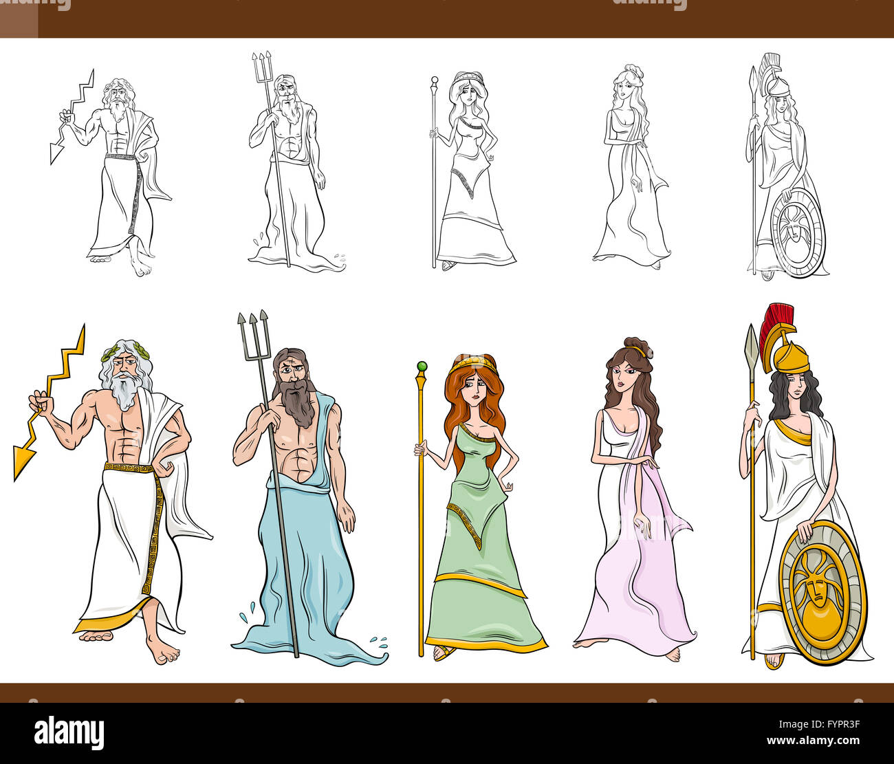 greek gods cartoon illustration - Stock Image