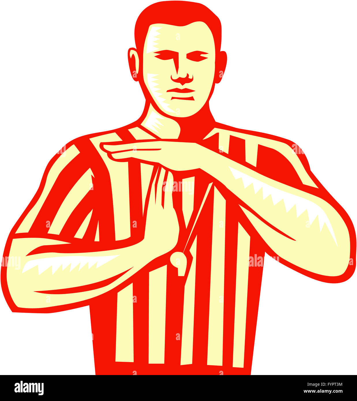 Basketball Referee Technical Foul Retro - Stock Image