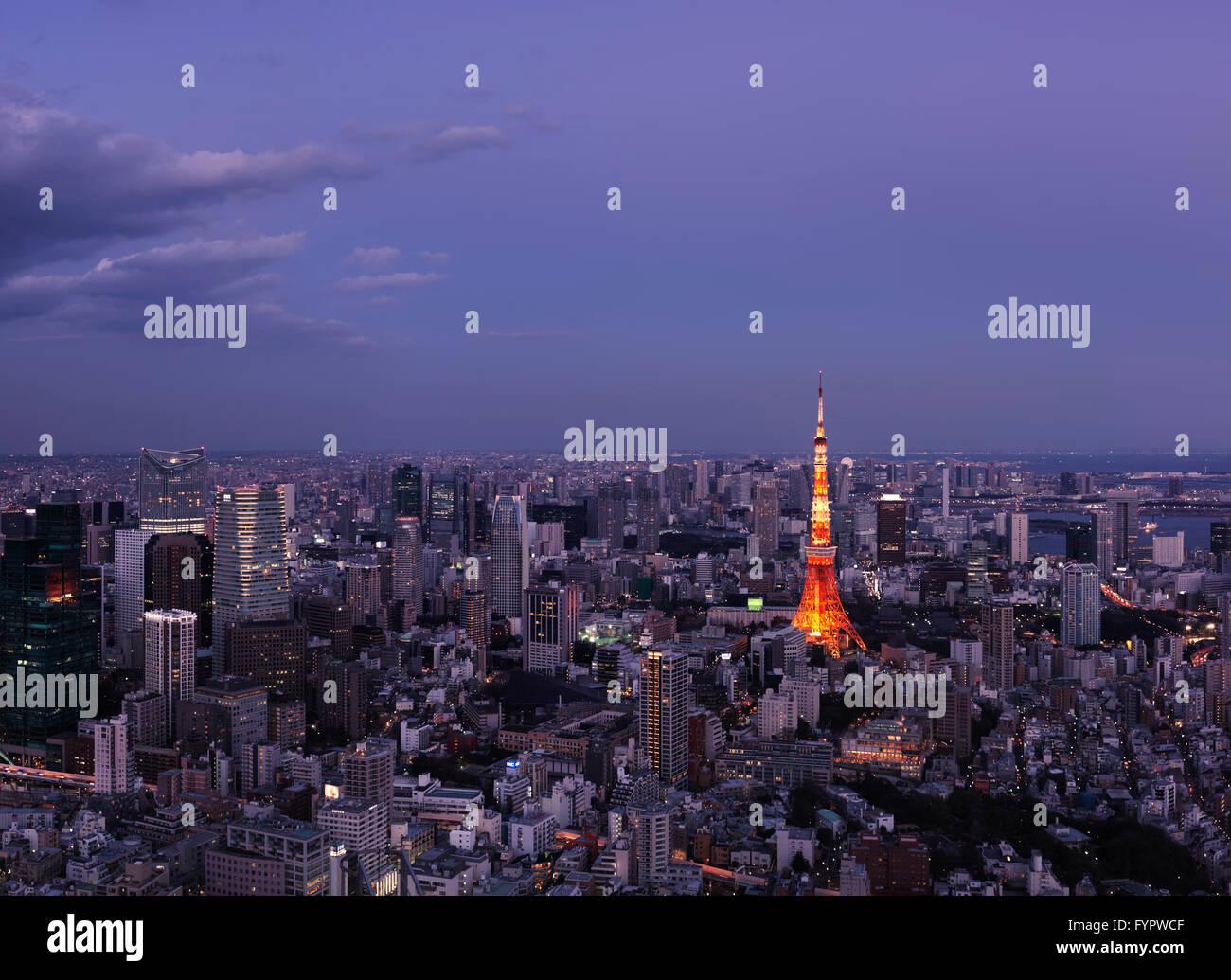 Tokyo Tower, cityscape, at dusk, Tokyo, Japan - Stock Image
