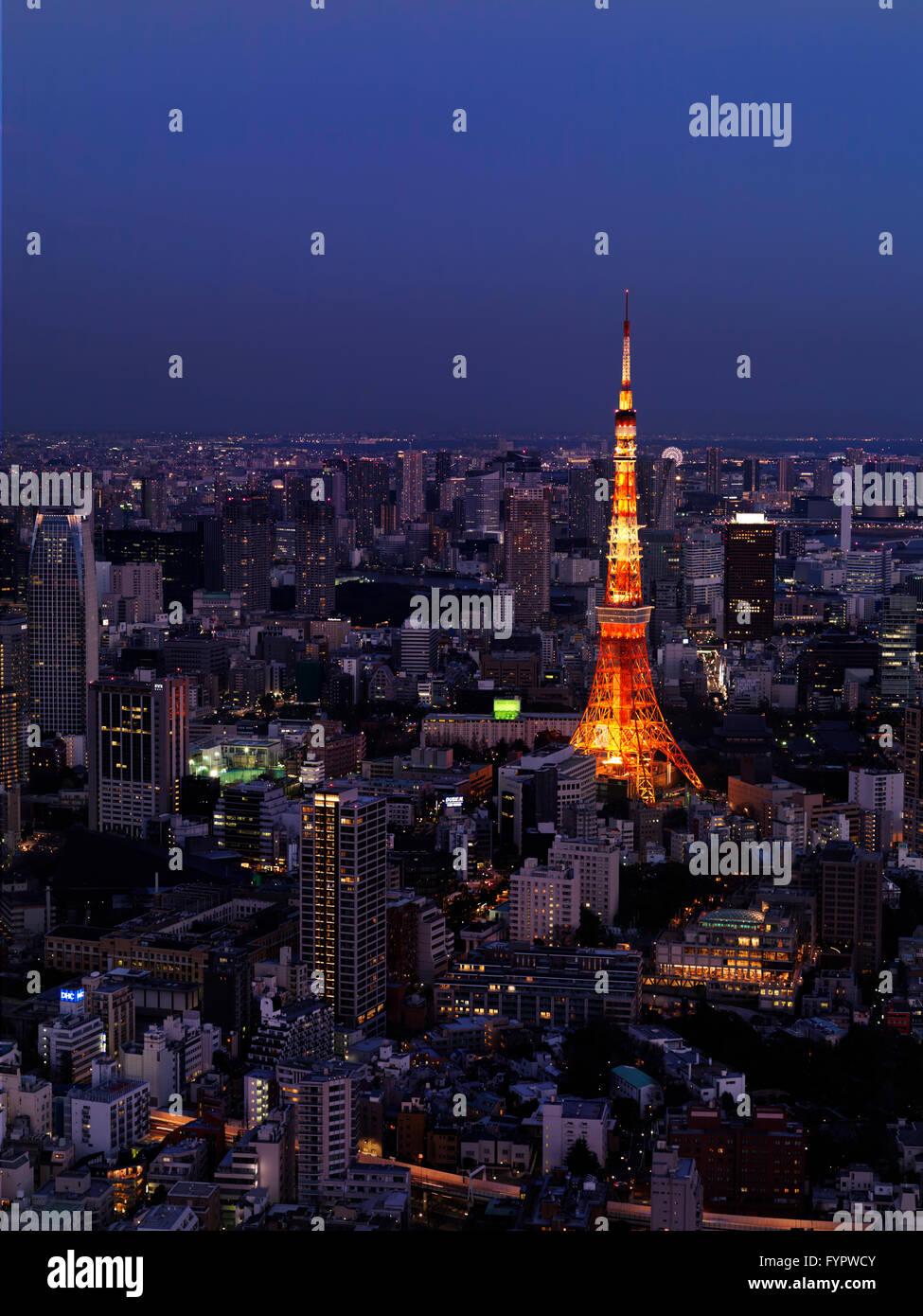 Tokyo Tower, illuminated at night, Tokyo, Japan - Stock Image