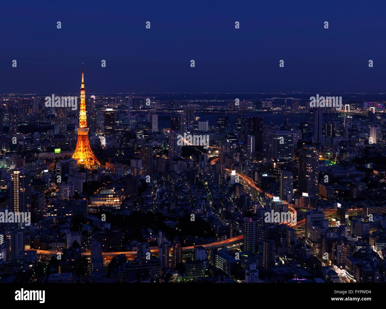 Tokyo Tower, cityscape, at night, Tokyo, Japan - Stock Image