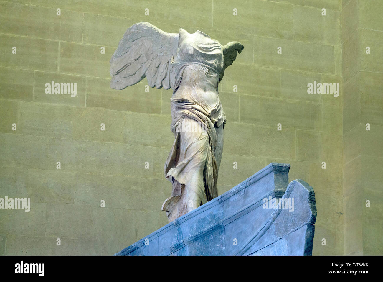 Winged Victory of Samothrace sculpture, 2nd Century BC,  Musee du Louvre, Paris France, Europe - Stock Image
