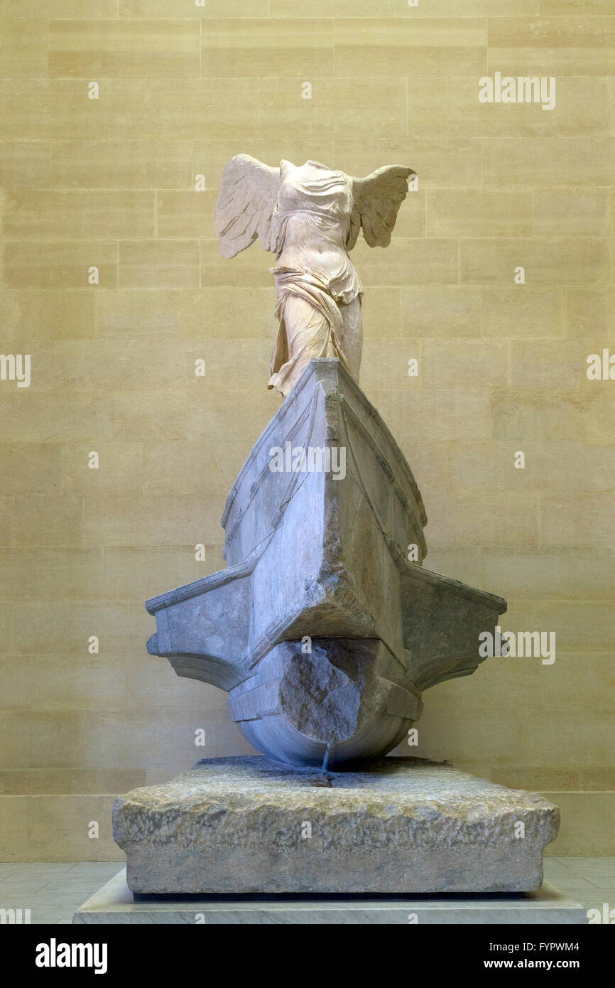 Winged Victory of Samothrace sculpture, 2nd Century BC,  Musee du Louvre Museum Paris France Europe - Stock Image