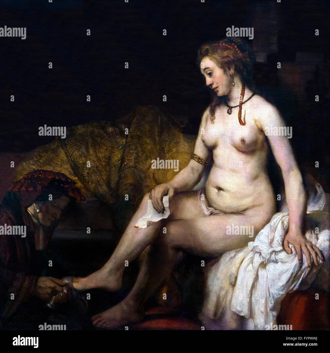 Bathing Bathsheba, Bathsheba in the bath holding David's letter, by Rembrandt, 1654, Musee du Louvre, Paris - Stock Image