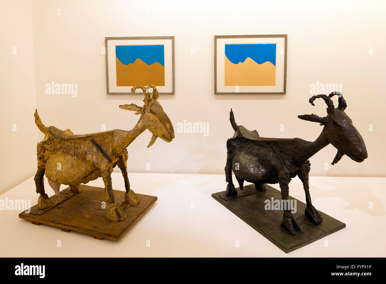 The Goat, La Chevre, 1950, statues interior of Musee Picasso, Paris, France, Europe - Stock Image