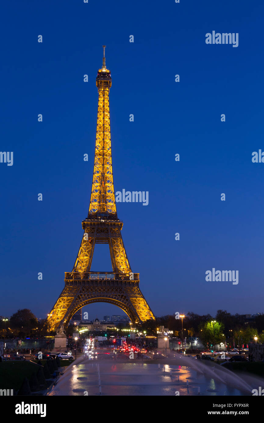 Eiffel Tower in evening, Paris, France, Europe, - Stock Image