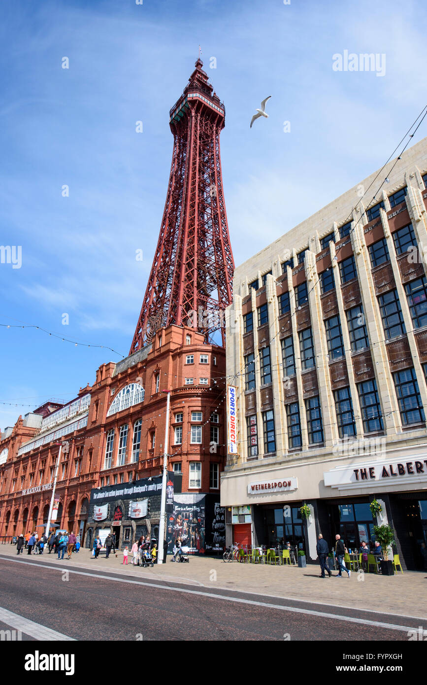 View of Blackpool Tower without scaffolding as seen from the promenade - Stock Image