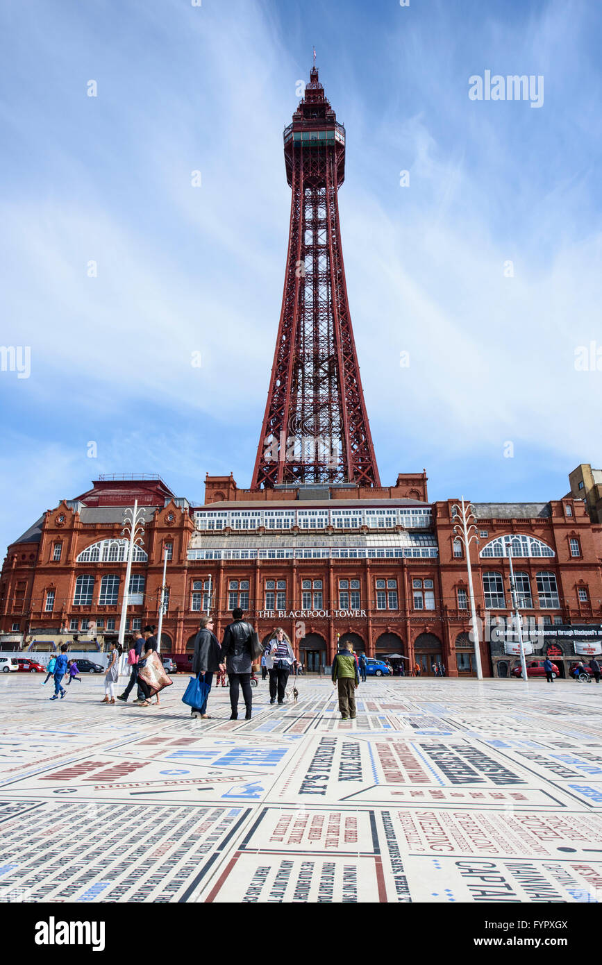 View of Blackpool Tower without scaffolding as seen from the Comedy Carpet - Stock Image