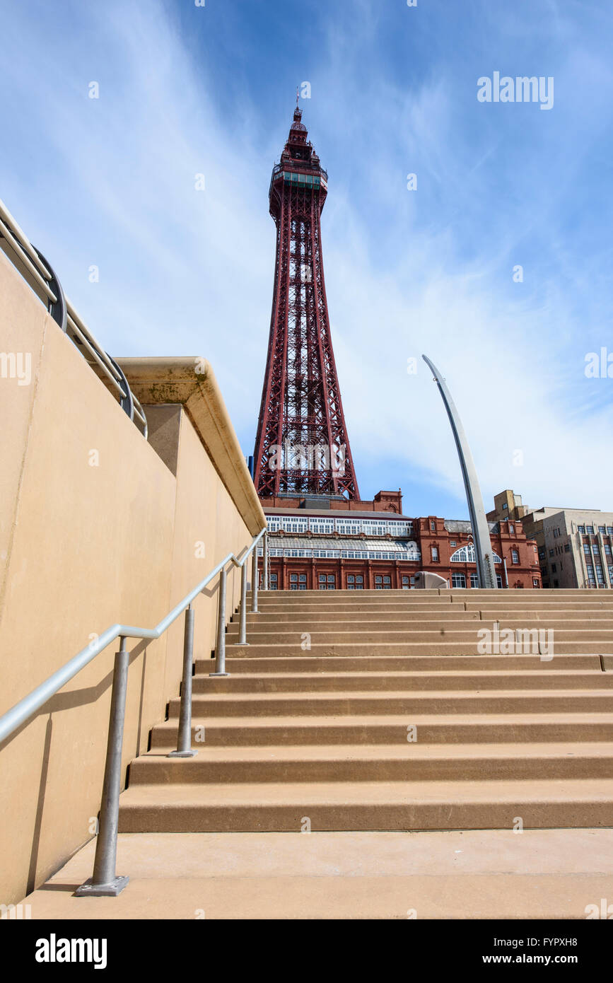 View of Blackpool Tower without scaffolding as seen from the promenade steps - Stock Image