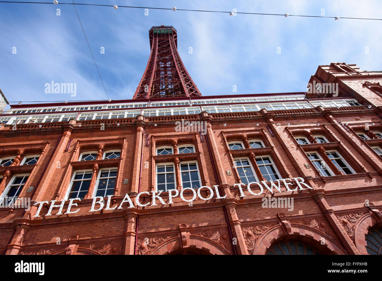 View looking up at Blackpool Tower without scaffolding - Stock Image