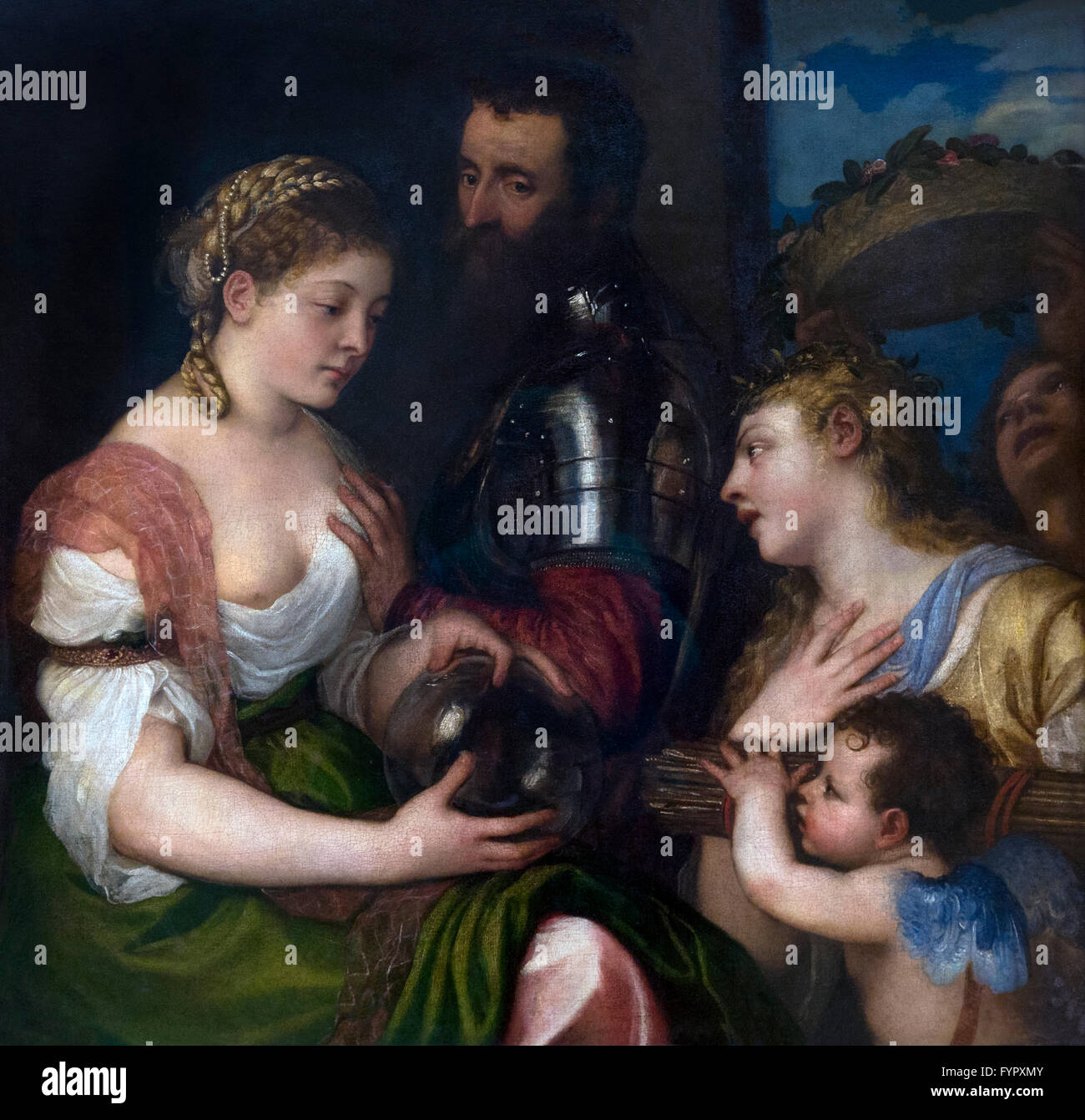 Allegory of Married Life, by Titian, circa 1530, Musee du Louvre, Paris France, Europe - Stock Image
