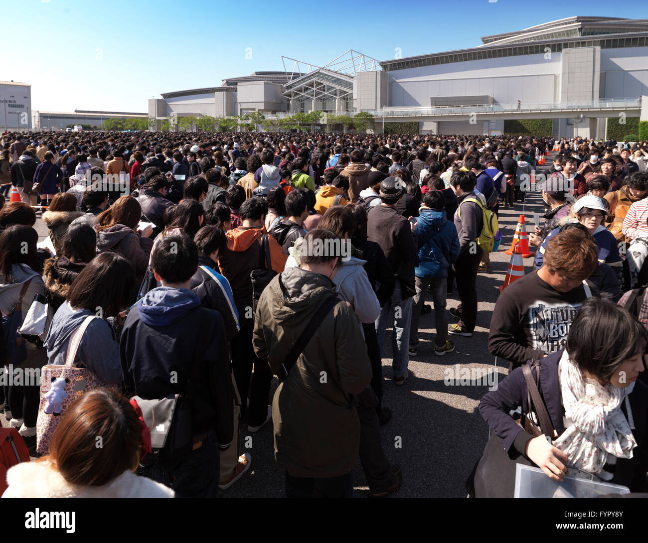 People queueing at Tokyo Big Sight, or Tokyo International Exhibition Center, during Anime Fair, Tokyo, Japan Stock Photo