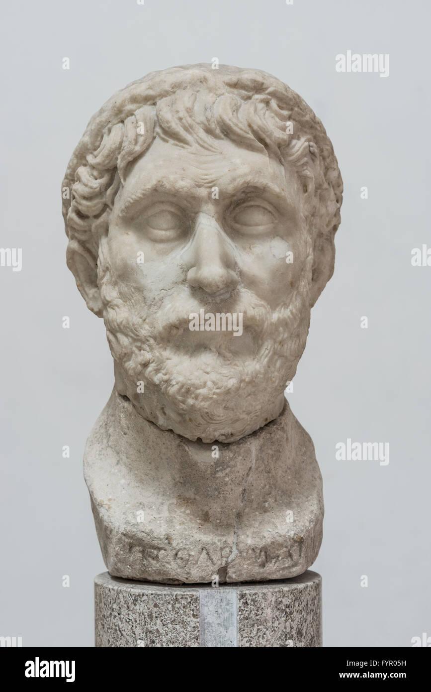 Bust of Claudius Ptolemy, Greek mathematician, astronomer and philosopher, Temple Museum Lapidario Tergestino - Stock Image