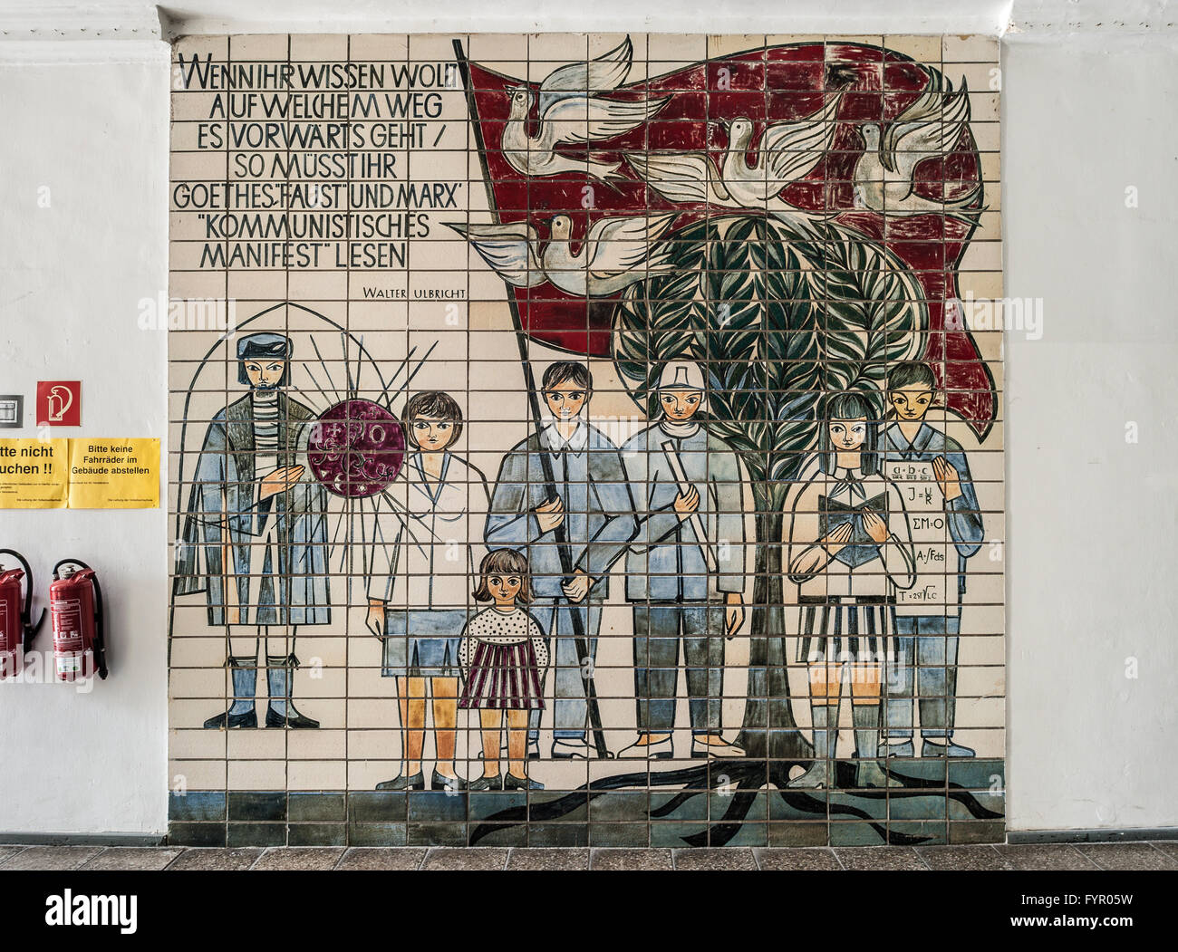 Mural of tiles with saying by Walter Ulbricht, East German propaganda, socialist realism, interior, Weimar, Thuringia - Stock Image