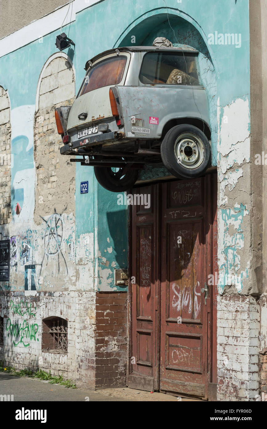 DDR-car brand Trabant, rear mounted over old doorway, Halle an der Saale, Saxony-Anhalt, Germany - Stock Image
