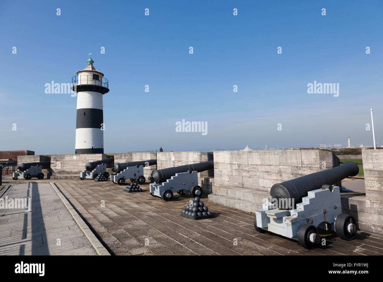 Lighthouse and cannons, Southsea Castle, Southsea, Portsmouth, England, United Kingdom - Stock Image