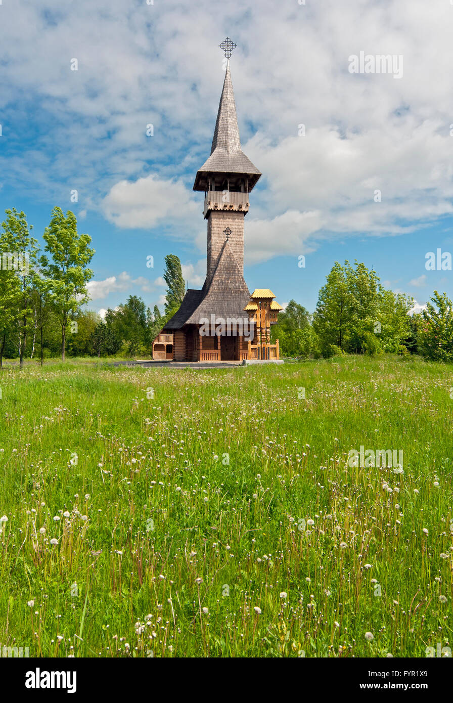 Wooden Orthodox church of St. Valentine, Most, Czech Republic - Stock Image