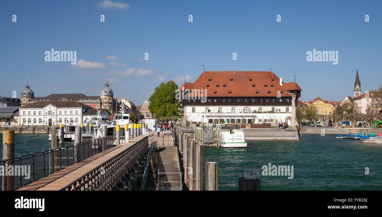 Port with Konzilgebäude, Konzil edifice, Lake Constance, Konstanz, Baden-Württemberg, Germany - Stock Image