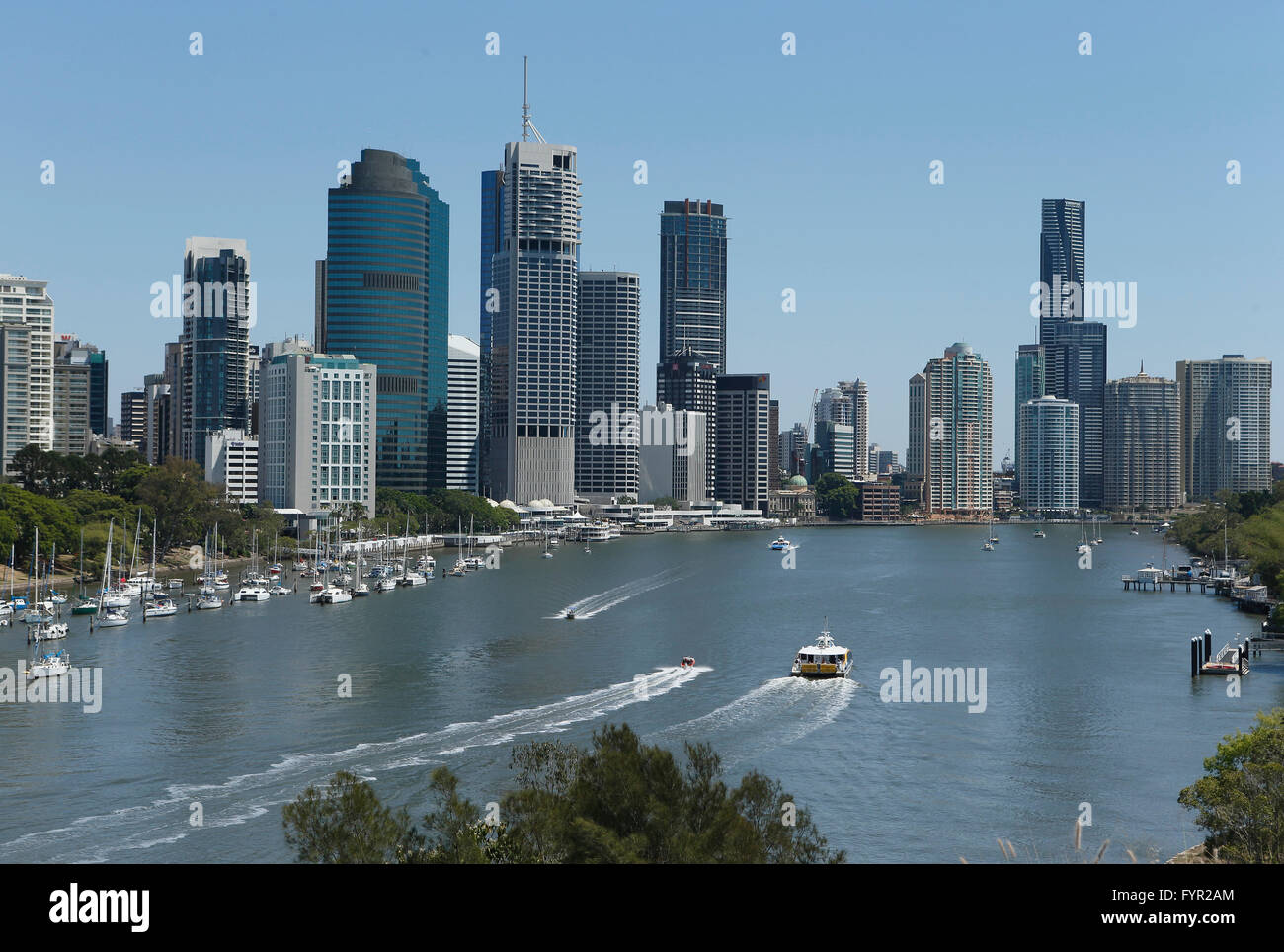 Skyline, harbour, Brisbane River, Brisbane, Queensland, Australia - Stock Image