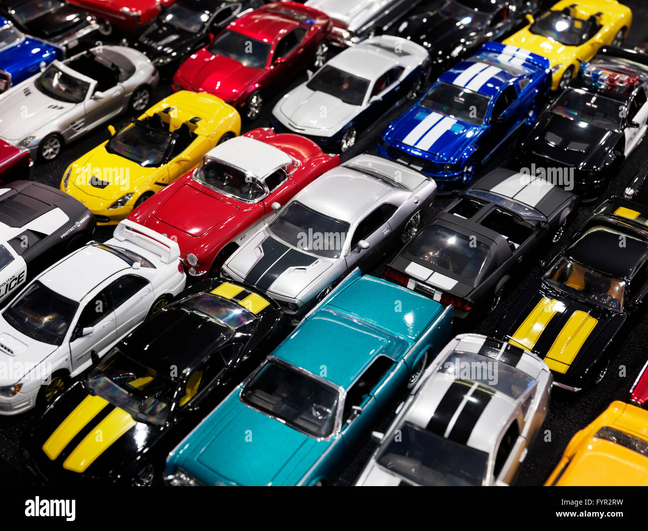 Diecast toy car models, colorful classic and sports cars Stock Photo