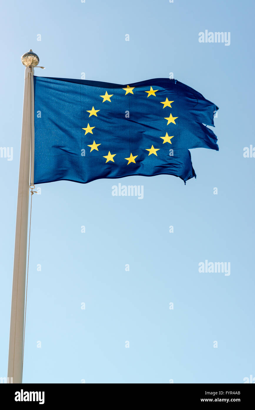Rundown European Union Flag - Stock Image