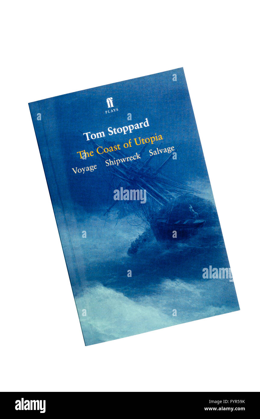 A copy of The Coast of Utopia by Tom Stoppard.  A 2002 trilogy of plays comprising  Voyage, Shipwreck, and Salvage. - Stock Image
