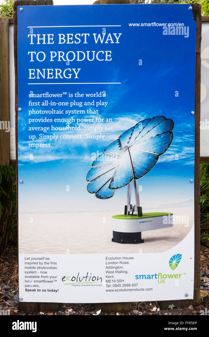 Poster for Smartflower, described by the manufacturers as the  world's first all-in-one plug and play photovoltaic - Stock Image
