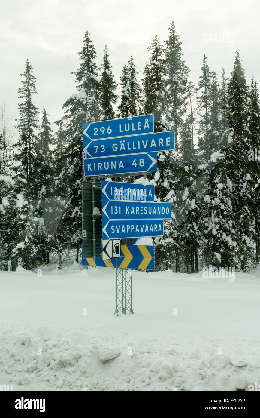 A signpost in Sweden - Stock Image