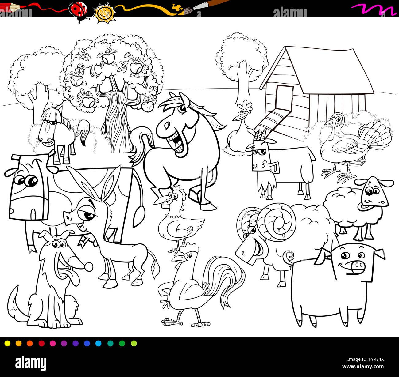 cartoon farm animals coloring book Stock Photo: 103158858 ...